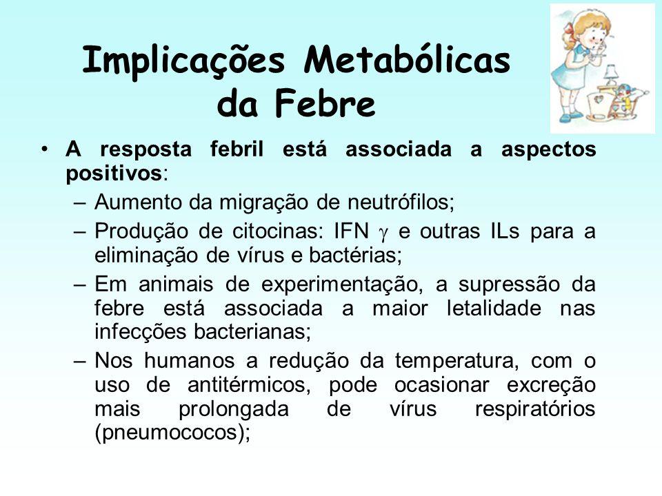 Implicações Metabólicas da Febre A resposta febril está associada a aspectos positivos: –Aumento da migração de neutrófilos; –Produção de citocinas: I