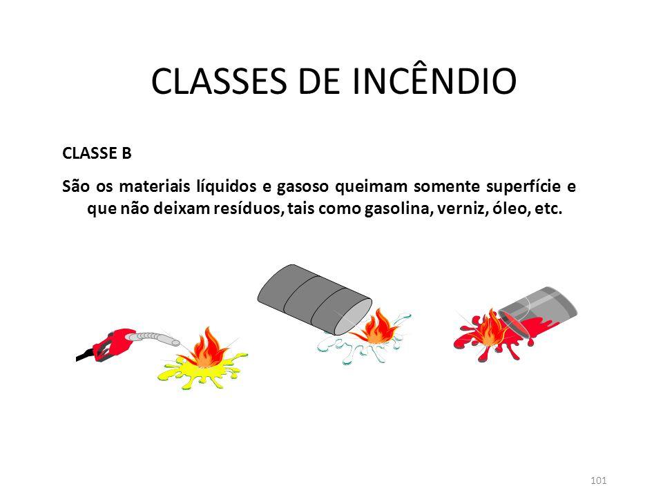 100 CLASSES DE INCÊNDIO CLASSE A: São os materiais ordinários sólidos e que queimam tanto na superfície quanto sua profundidade e obrigatoriamente deixam resíduos, tais como: papel, madeira, tecidos, fibras, etc.
