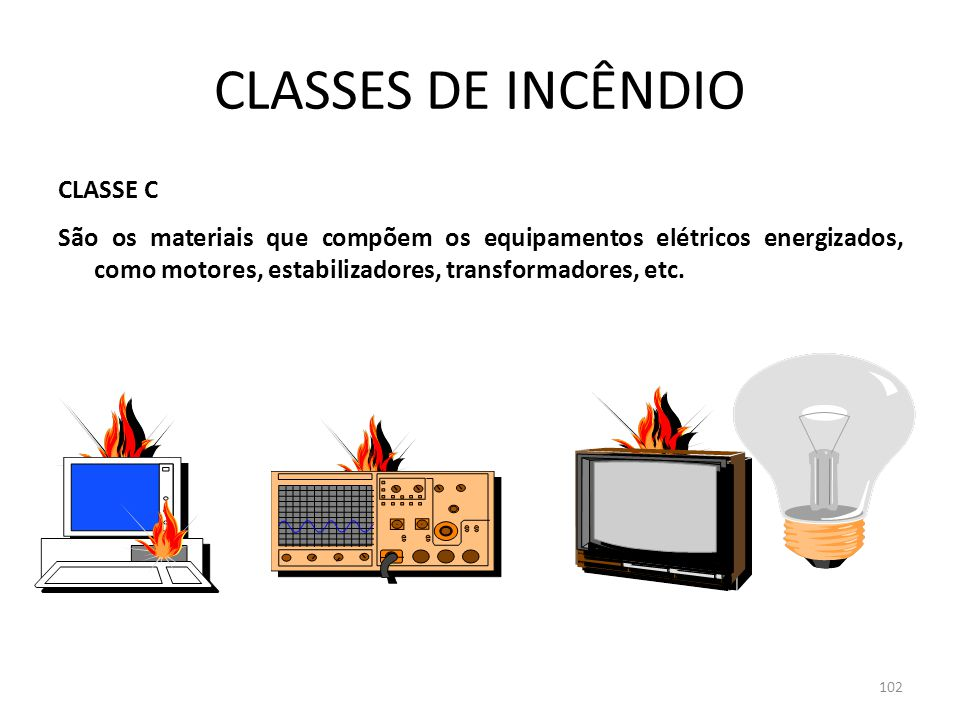 101 CLASSES DE INCÊNDIO CLASSE B São os materiais líquidos e gasoso queimam somente superfície e que não deixam resíduos, tais como gasolina, verniz, óleo, etc.