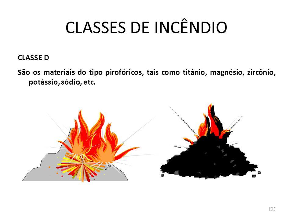 102 CLASSES DE INCÊNDIO CLASSE C São os materiais que compõem os equipamentos elétricos energizados, como motores, estabilizadores, transformadores, e
