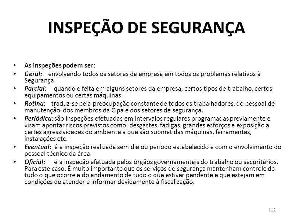 111 INSPEÇÃO DE SEGURANÇA Como já sabemos, o acidente é conseqüência de diversos fatores que, combinados, precipitam a ocorrência do mesmo. Portanto n