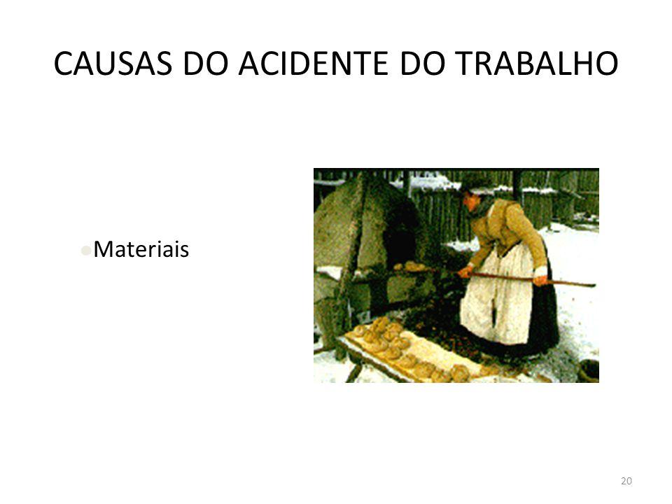 19 CAUSAS DO ACIDENTE DO TRABALHO Equipamentos