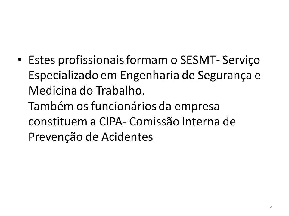 5 Estes profissionais formam o SESMT- Serviço Especializado em Engenharia de Segurança e Medicina do Trabalho.