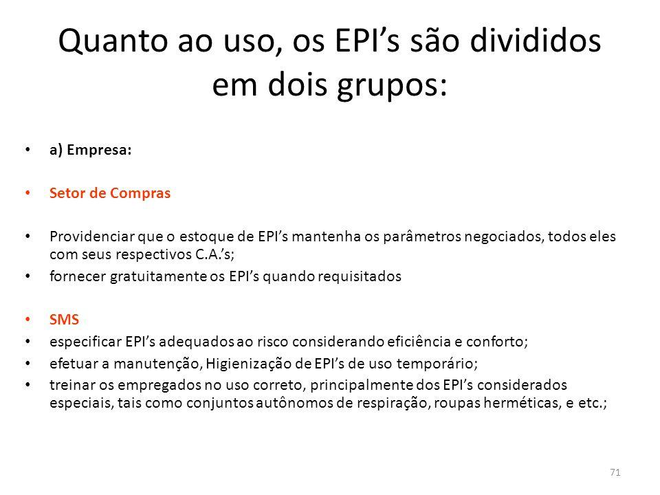 70 Quanto ao uso, os EPI's são divididos em dois grupos: a) Uso permanente: são os equipamentos recebidos pelos empregados, para o exercício de determinadas funções, de uso pessoal, exclusivo e permanente.