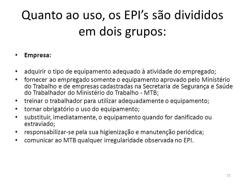 72 Quanto ao uso, os EPI's são divididos em dois grupos: garantir que exista o registro da distribuição dos EPI's aos empregados; realizar e divulgar para a estrutura de auditorias relatórios semestrais do uso de EPI's nas diferentes áreas.