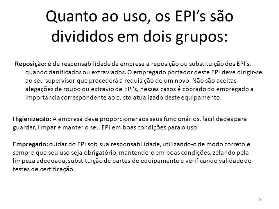 75 Quanto ao uso, os EPI's são divididos em dois grupos: Fabricante e/ou importador: Comercializar ou colocar à venda somente o equipamento que tiver
