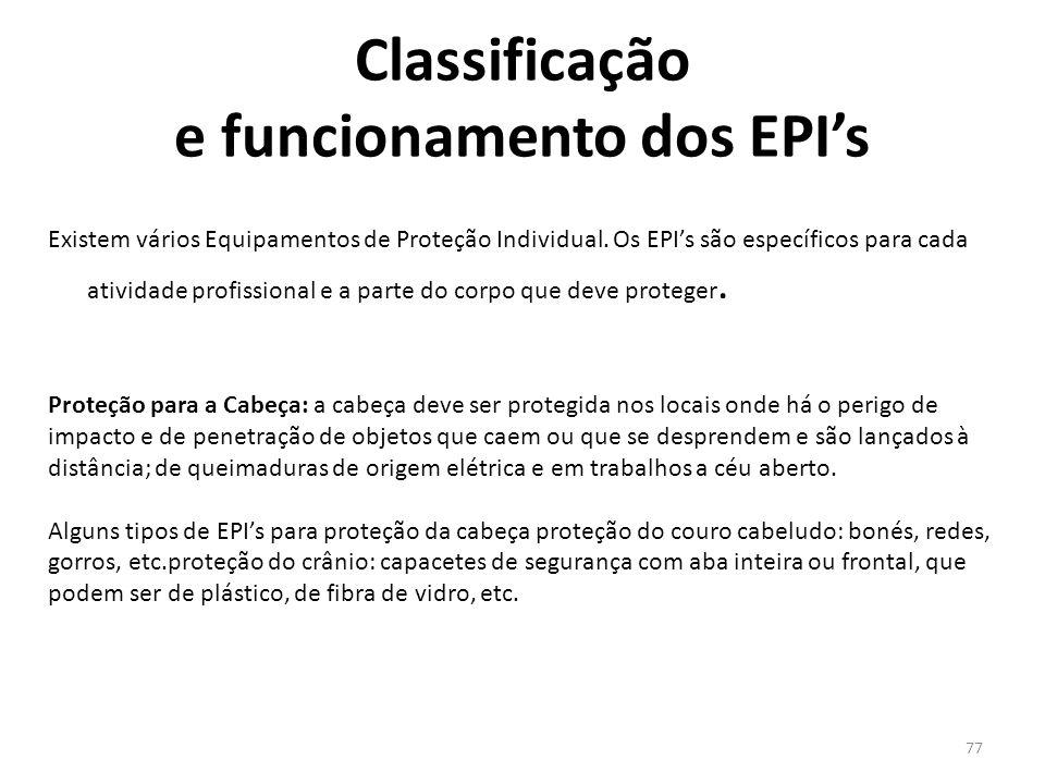 76 Quanto ao uso, os EPI's são divididos em dois grupos: Reposição: é de responsabilidade da empresa a reposição ou substituição dos EPI's, quando danificados ou extraviados.
