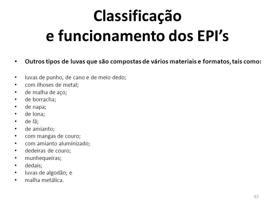 82 Classificação e funcionamento dos EPI's Avental de PVC substituir o equipamento, quando a roupa estiver danifica (rasgada, fura, etc.); após a util