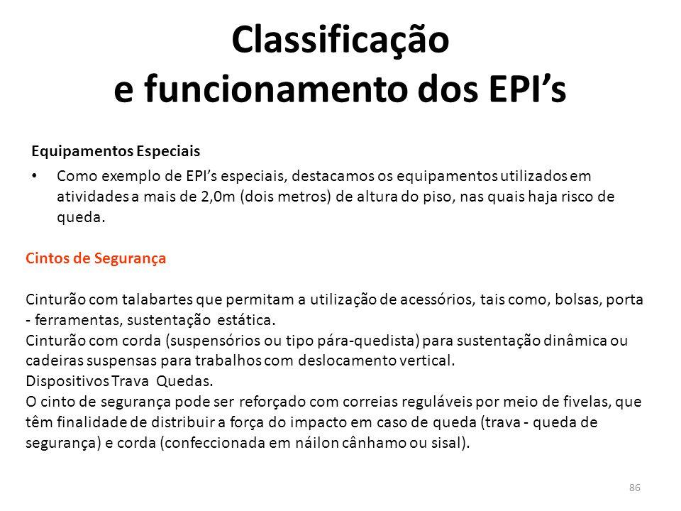 85 Classificação e funcionamento dos EPI's Botas com Biqueiras Metálicas de Proteção: protege os pés em trabalho que evolvem riscos mecânicos.