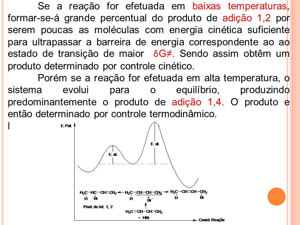 Se a reação for efetuada em baixas temperaturas, formar-se-á grande percentual do produto de adição 1,2 por serem poucas as moléculas com energia ciné