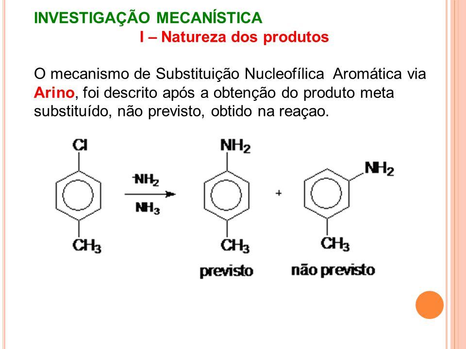 INVESTIGAÇÃO MECANÍSTICA I – Natureza dos produtos O mecanismo de Substituição Nucleofílica Aromática via Arino, foi descrito após a obtenção do produ