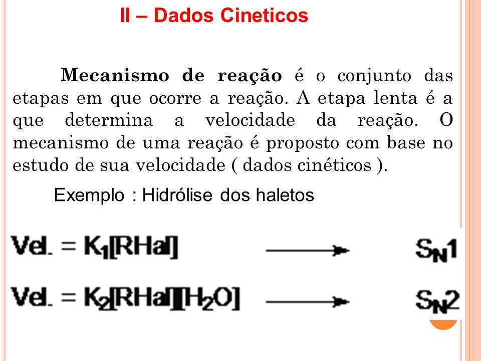 II – Dados Cineticos Exemplo : Hidrólise dos haletos Mecanismo de reação é o conjunto das etapas em que ocorre a reação. A etapa lenta é a que determi