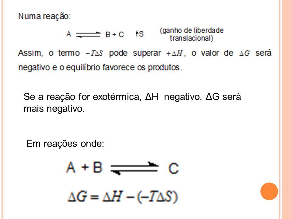 Se a reação for exotérmica, ΔH negativo, ΔG será mais negativo. Em reações onde:
