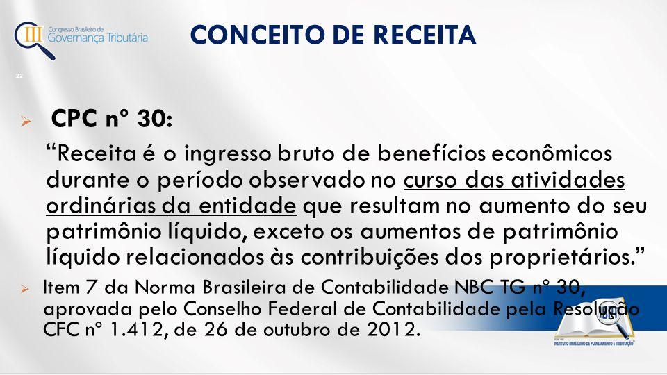  CPC nº 30: Receita é o ingresso bruto de benefícios econômicos durante o período observado no curso das atividades ordinárias da entidade que resultam no aumento do seu patrimônio líquido, exceto os aumentos de patrimônio líquido relacionados às contribuições dos proprietários.  Item 7 da Norma Brasileira de Contabilidade NBC TG nº 30, aprovada pelo Conselho Federal de Contabilidade pela Resolução CFC nº 1.412, de 26 de outubro de 2012.