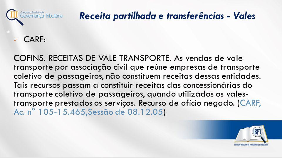 CARF: COFINS.RECEITAS DE VALE TRANSPORTE.