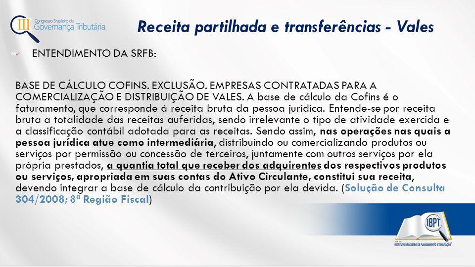 ENTENDIMENTO DA SRFB: BASE DE CÁLCULO COFINS.EXCLUSÃO.