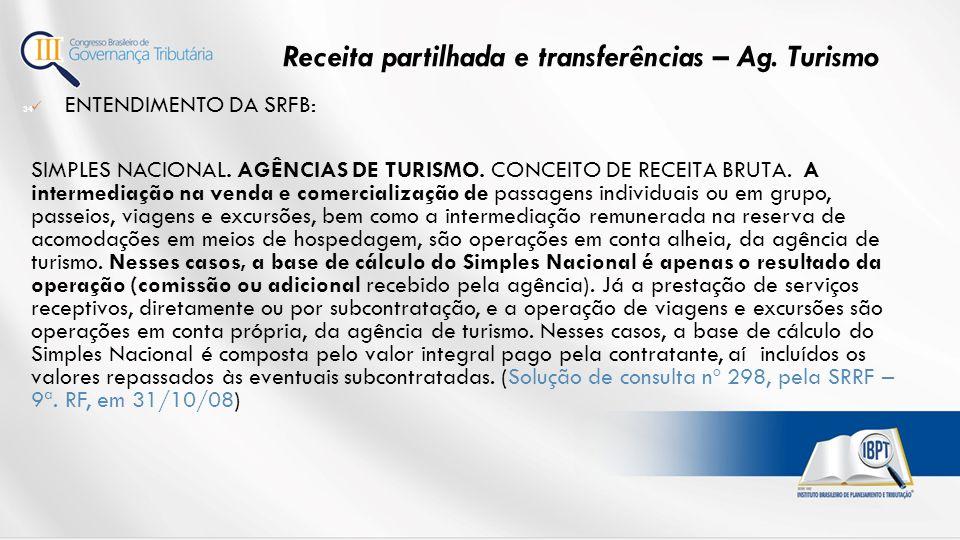 ENTENDIMENTO DA SRFB: SIMPLES NACIONAL.AGÊNCIAS DE TURISMO.
