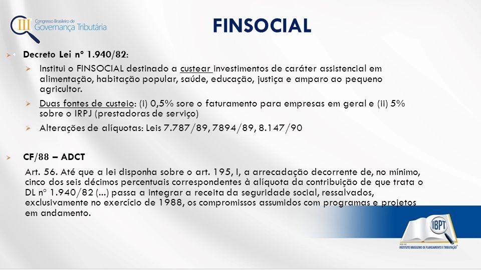  Decreto Lei nº 1.940/82:  Institui o FINSOCIAL destinado a custear investimentos de caráter assistencial em alimentação, habitação popular, saúde, educação, justiça e amparo ao pequeno agricultor.