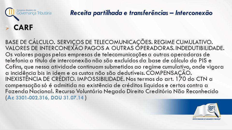  CARF BASE DE CÁLCULO.SERVIÇOS DE TELECOMUNICAÇÕES.