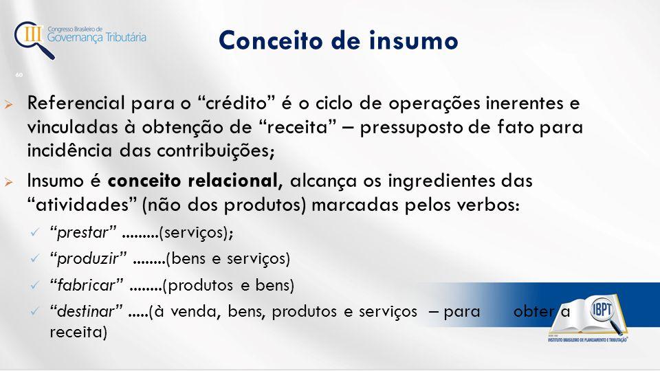 Conceito de insumo 60  Referencial para o crédito é o ciclo de operações inerentes e vinculadas à obtenção de receita – pressuposto de fato para incidência das contribuições;  Insumo é conceito relacional, alcança os ingredientes das atividades (não dos produtos) marcadas pelos verbos: prestar .........(serviços); produzir ........(bens e serviços) fabricar ........(produtos e bens) destinar .....(à venda, bens, produtos e serviços – para obter a receita)