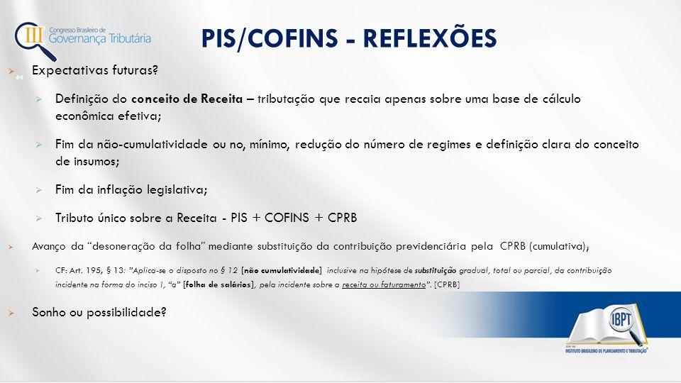 PIS/COFINS - REFLEXÕES 64  Expectativas futuras.