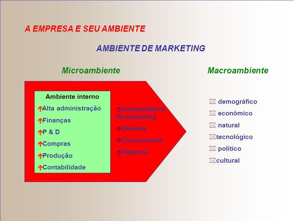 Ambiente de Marketing Ambiente de marketing – é constituído de participantes e forças externas a ele que afetam a capacidade de administração de marke