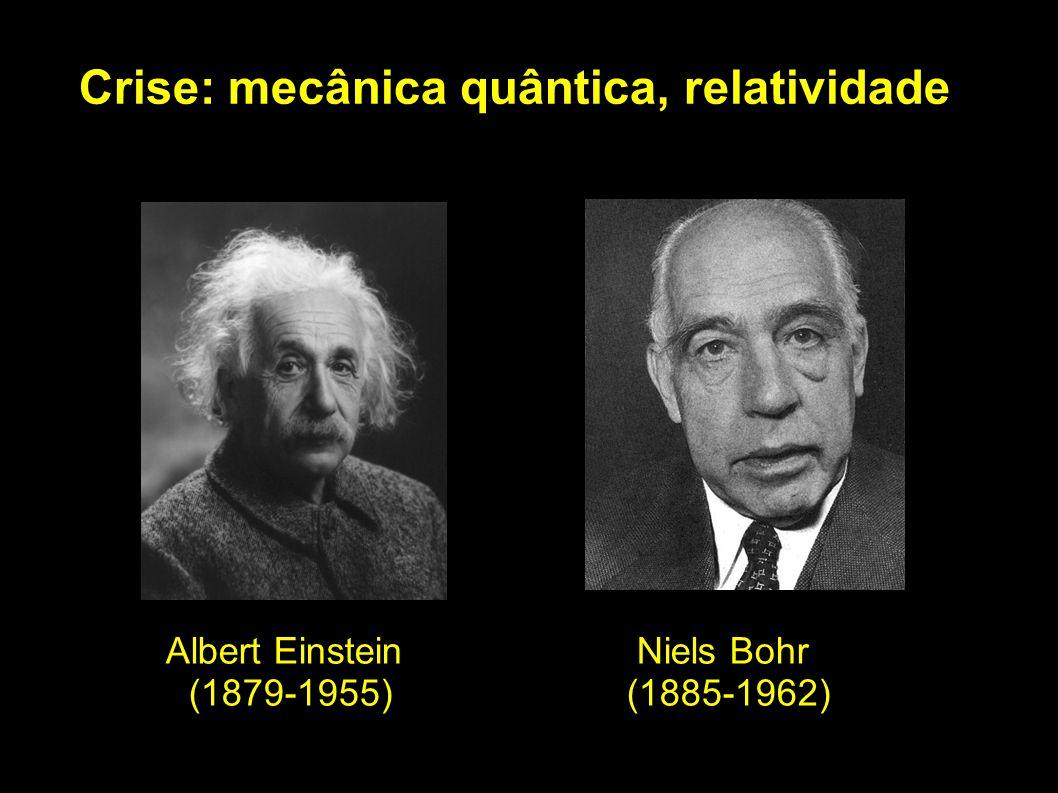 Crise: mecânica quântica, relatividade Albert Einstein (1879-1955) Niels Bohr (1885-1962)