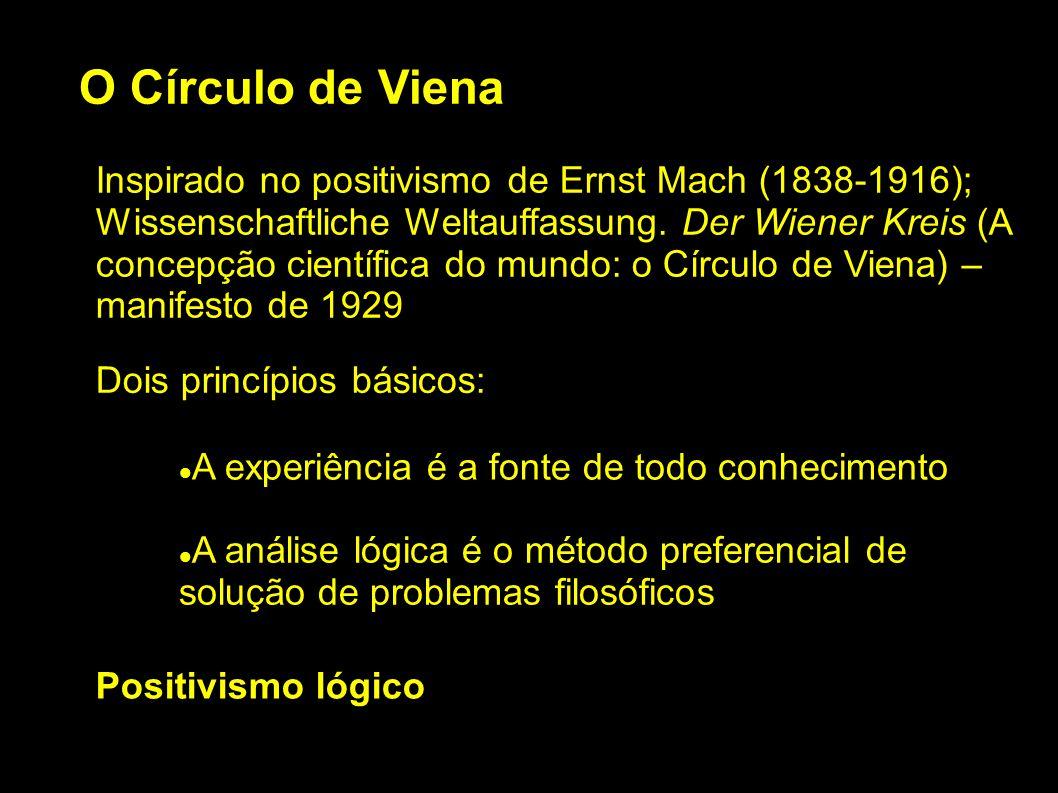 O Círculo de Viena Inspirado no positivismo de Ernst Mach (1838-1916); Wissenschaftliche Weltauffassung. Der Wiener Kreis (A concepção científica do m