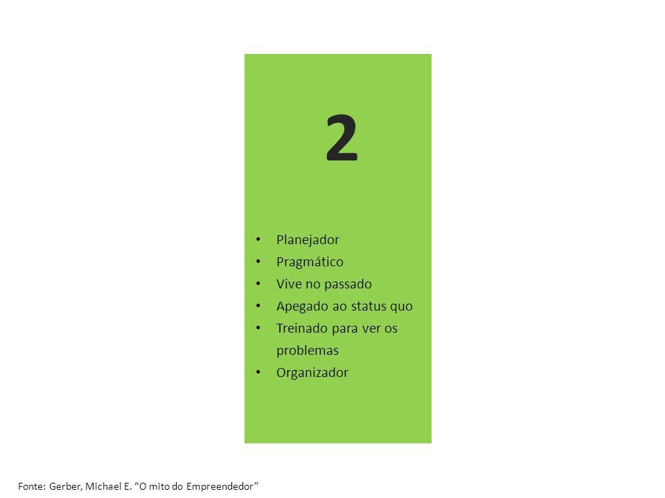 Planejador Pragmático Vive no passado Apegado ao status quo Treinado para ver os problemas Organizador Fonte: Gerber, Michael E.