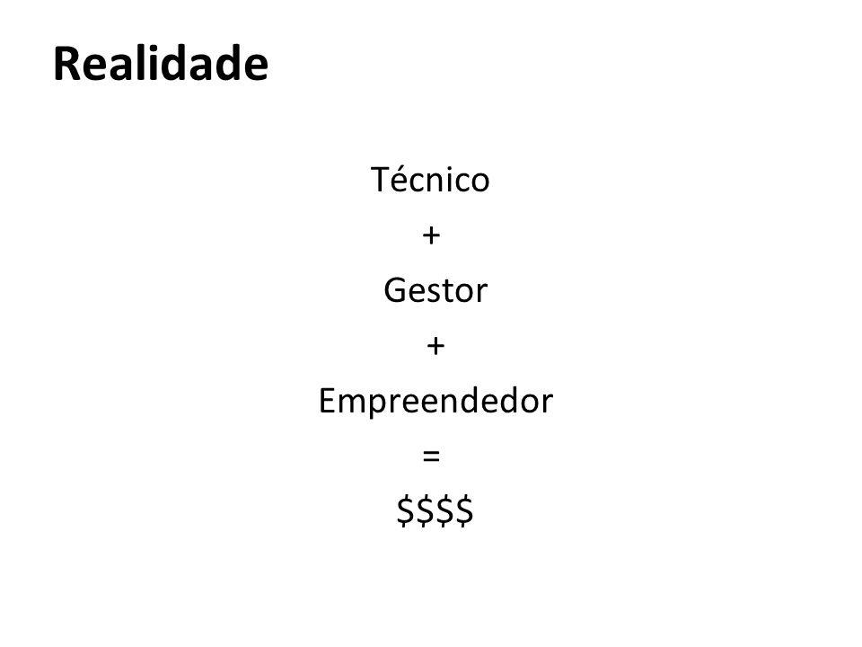 Realidade Técnico + Gestor + Empreendedor = $$$$