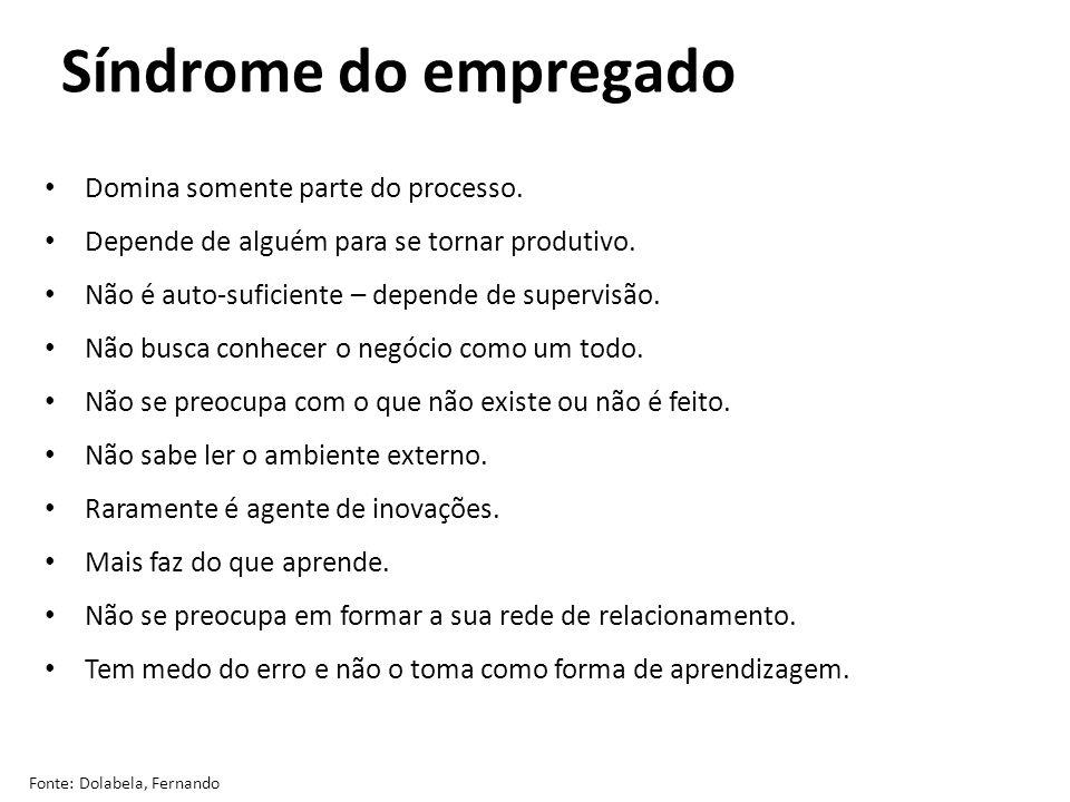 Síndrome do empregado Fonte: Dolabela, Fernando Domina somente parte do processo. Depende de alguém para se tornar produtivo. Não é auto-suficiente –