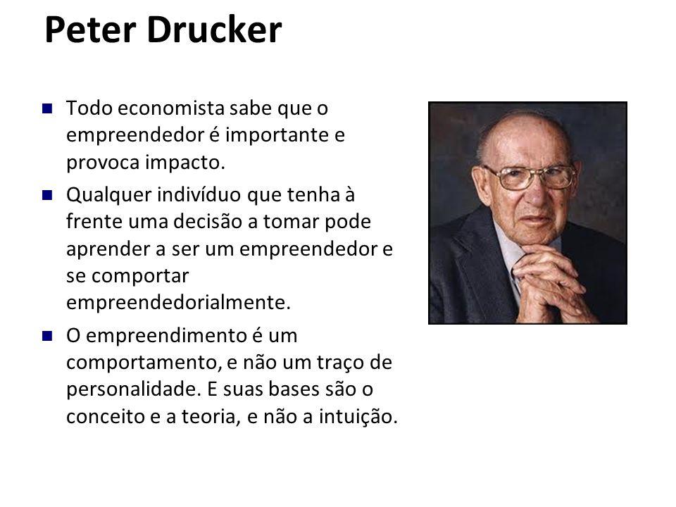 Peter Drucker Todo economista sabe que o empreendedor é importante e provoca impacto. Qualquer indivíduo que tenha à frente uma decisão a tomar pode a