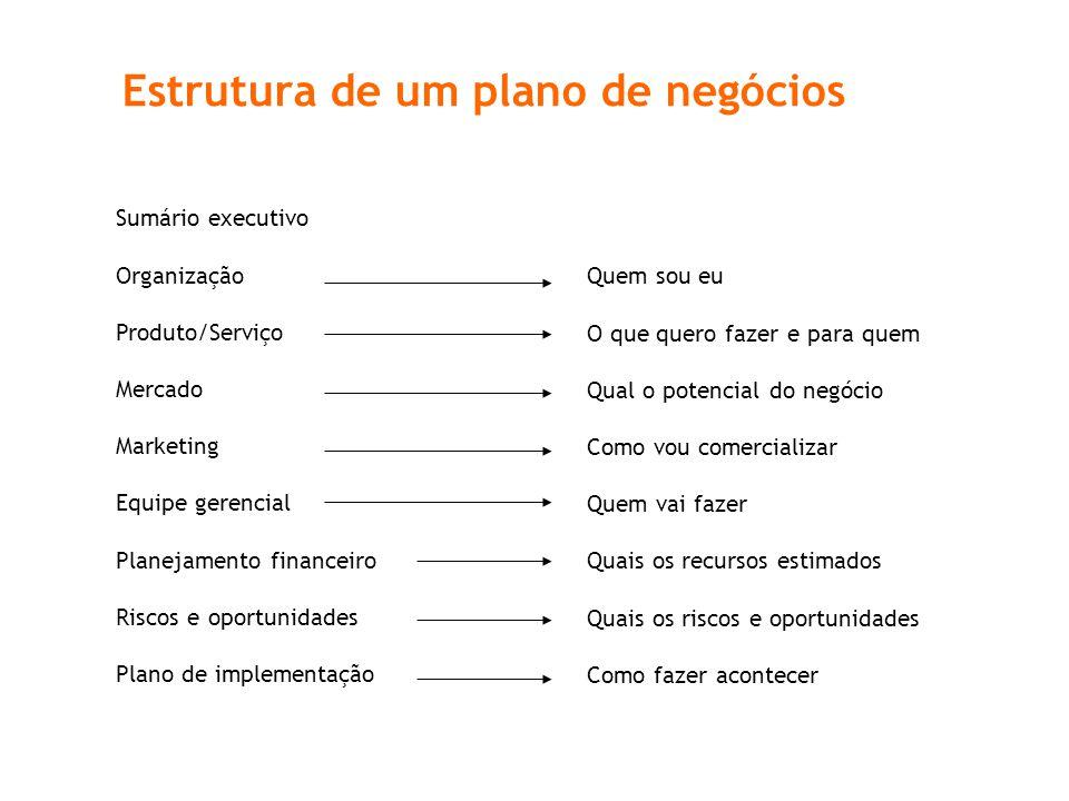 Estrutura de um plano de negócios Sumário executivo Organização Produto/Serviço Mercado Marketing Equipe gerencial Planejamento financeiro Riscos e op