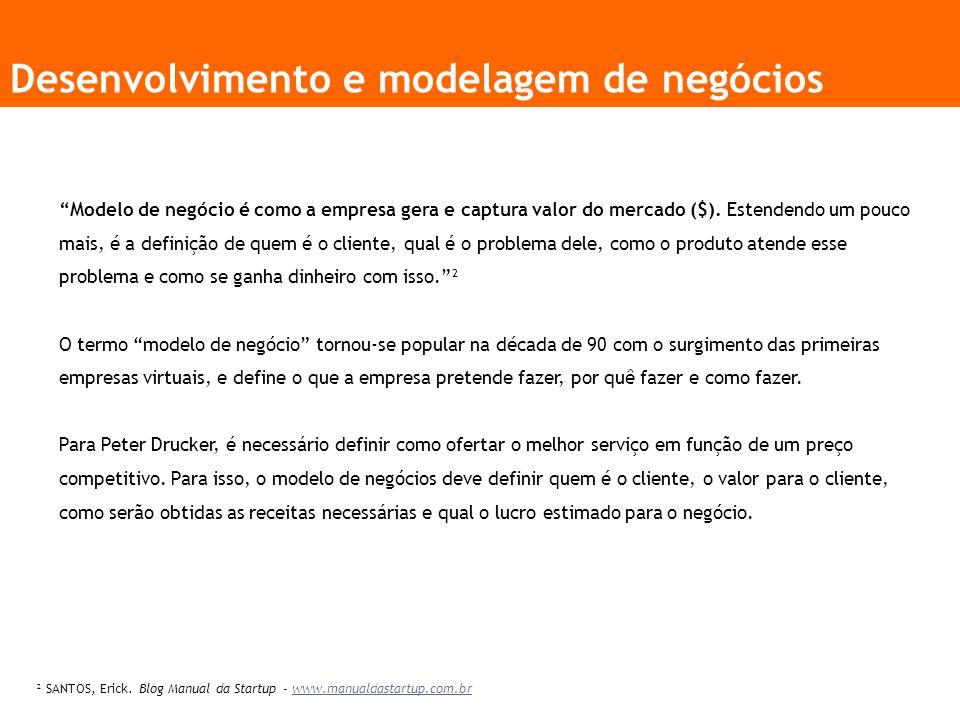 Desenvolvimento e modelagem de negócios Modelo de negócio é como a empresa gera e captura valor do mercado ($).