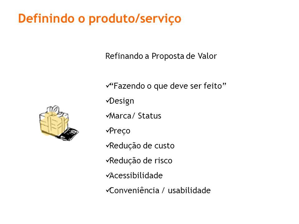 Definindo o produto/serviço Refinando a Proposta de Valor Fazendo o que deve ser feito Design Marca/ Status Preço Redução de custo Redução de risco Acessibilidade Conveniência / usabilidade