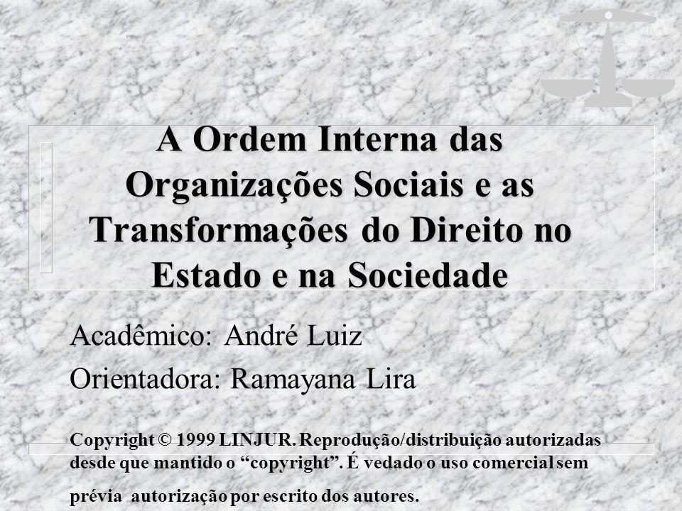 A Ordem Interna das Organizações Sociais e as Transformações do Direito no Estado e na Sociedade Acadêmico: André Luiz Orientadora: Ramayana Lira Copy