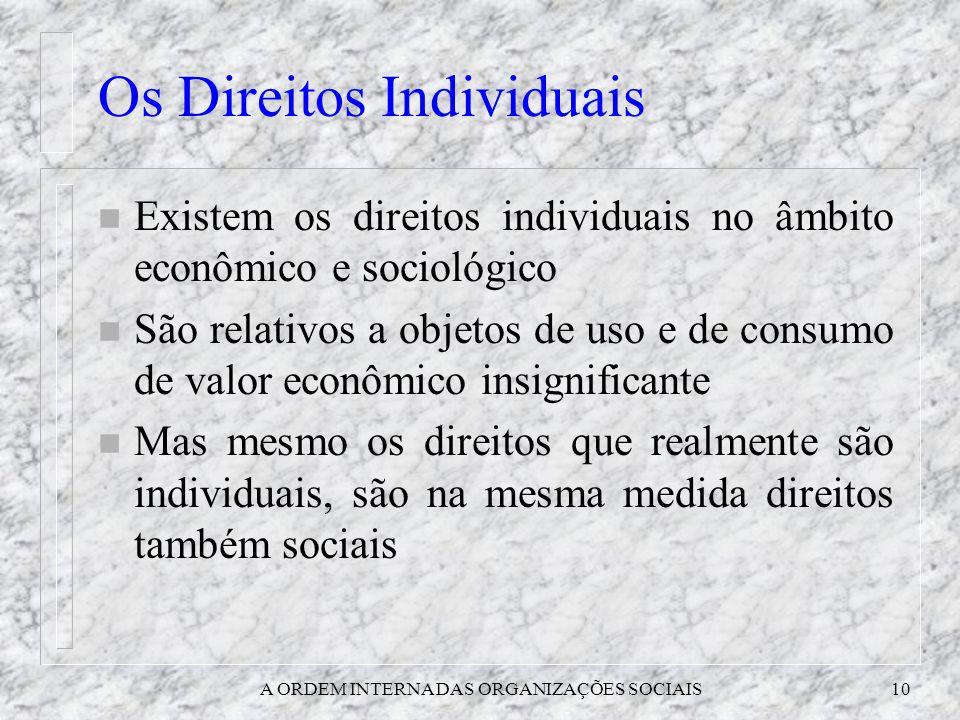 A ORDEM INTERNA DAS ORGANIZAÇÕES SOCIAIS10 Os Direitos Individuais n Existem os direitos individuais no âmbito econômico e sociológico n São relativos