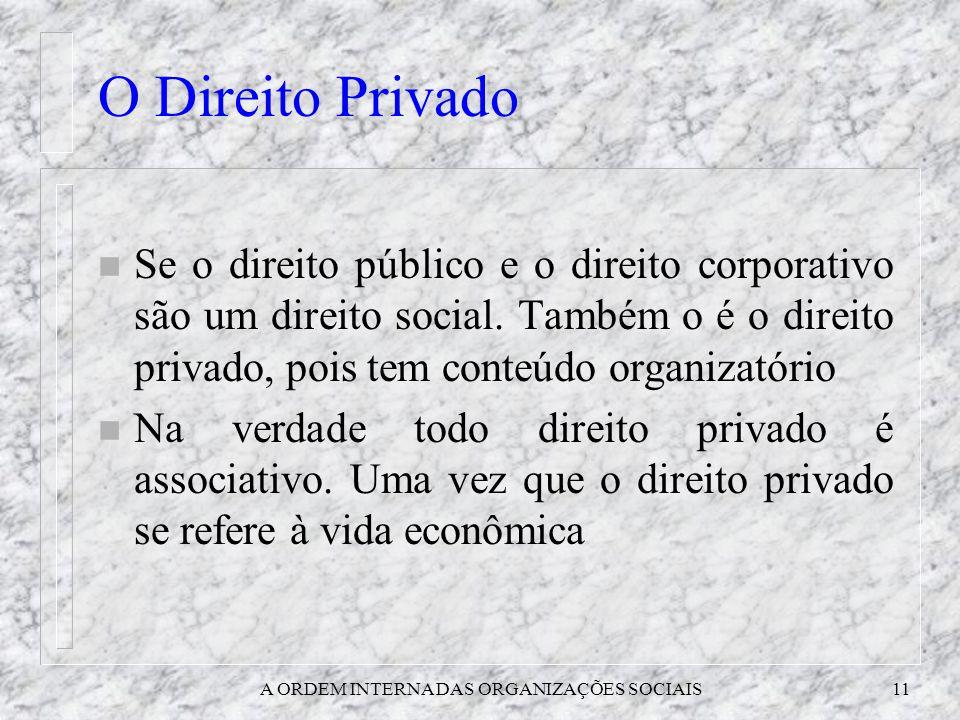 A ORDEM INTERNA DAS ORGANIZAÇÕES SOCIAIS11 O Direito Privado n Se o direito público e o direito corporativo são um direito social. Também o é o direit