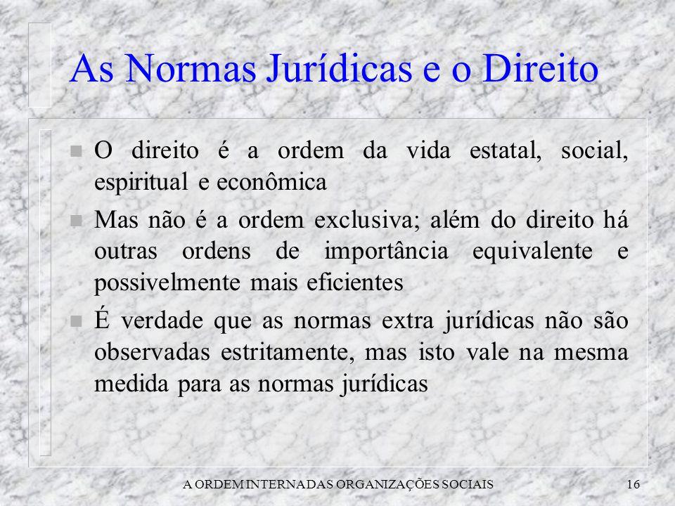 A ORDEM INTERNA DAS ORGANIZAÇÕES SOCIAIS16 As Normas Jurídicas e o Direito n O direito é a ordem da vida estatal, social, espiritual e econômica n Mas