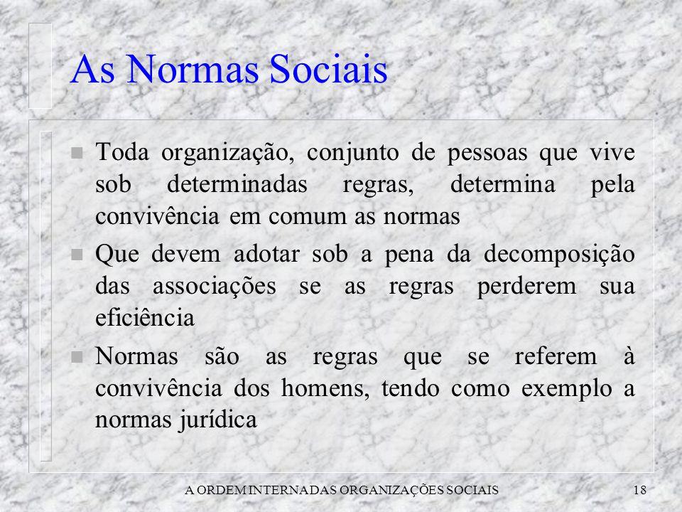 A ORDEM INTERNA DAS ORGANIZAÇÕES SOCIAIS18 As Normas Sociais n Toda organização, conjunto de pessoas que vive sob determinadas regras, determina pela