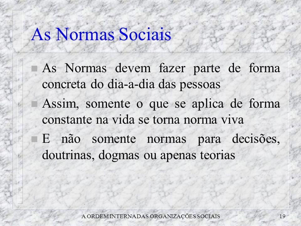 A ORDEM INTERNA DAS ORGANIZAÇÕES SOCIAIS19 As Normas Sociais n As Normas devem fazer parte de forma concreta do dia-a-dia das pessoas n Assim, somente