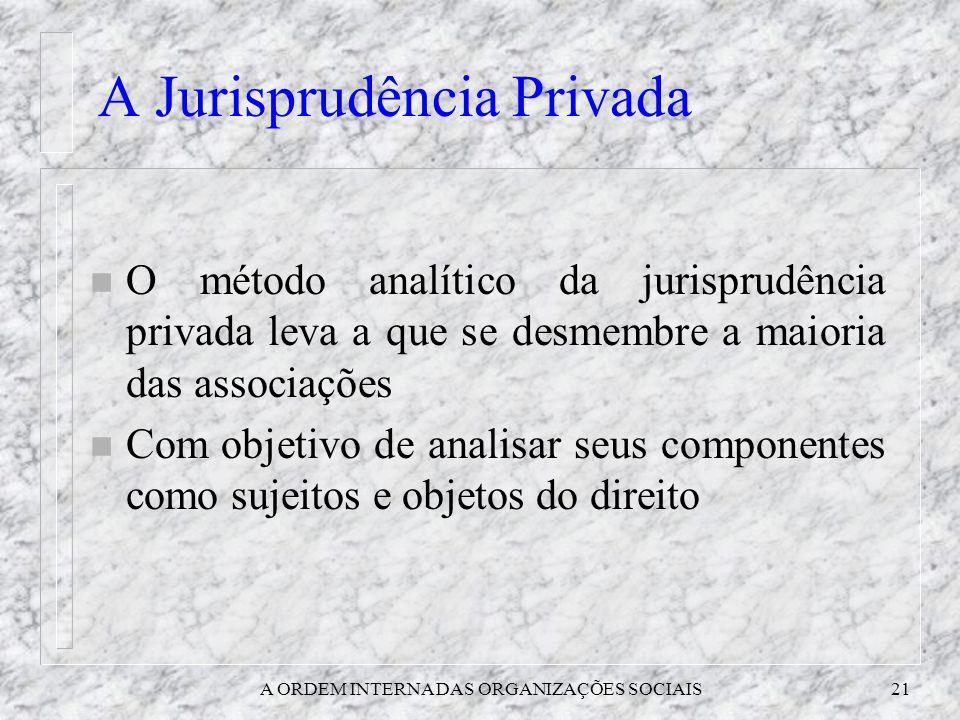 A ORDEM INTERNA DAS ORGANIZAÇÕES SOCIAIS21 A Jurisprudência Privada n O método analítico da jurisprudência privada leva a que se desmembre a maioria d
