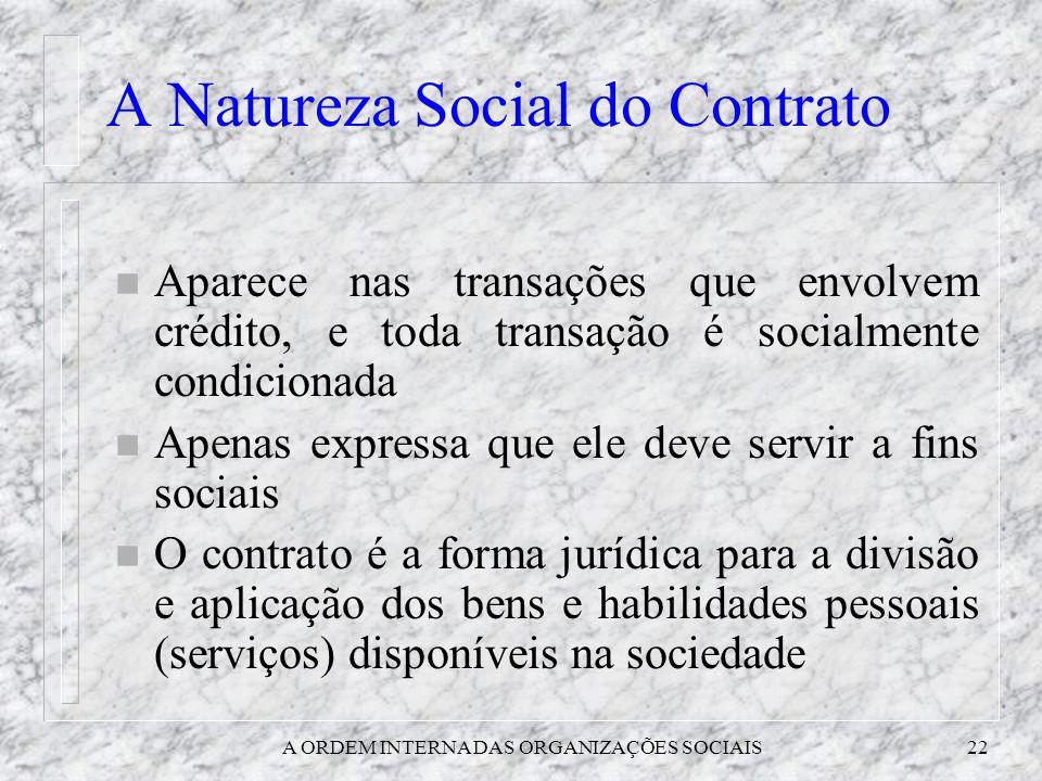 A ORDEM INTERNA DAS ORGANIZAÇÕES SOCIAIS22 A Natureza Social do Contrato n Aparece nas transações que envolvem crédito, e toda transação é socialmente