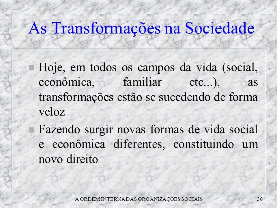 A ORDEM INTERNA DAS ORGANIZAÇÕES SOCIAIS30 As Transformações na Sociedade n Hoje, em todos os campos da vida (social, econômica, familiar etc...), as