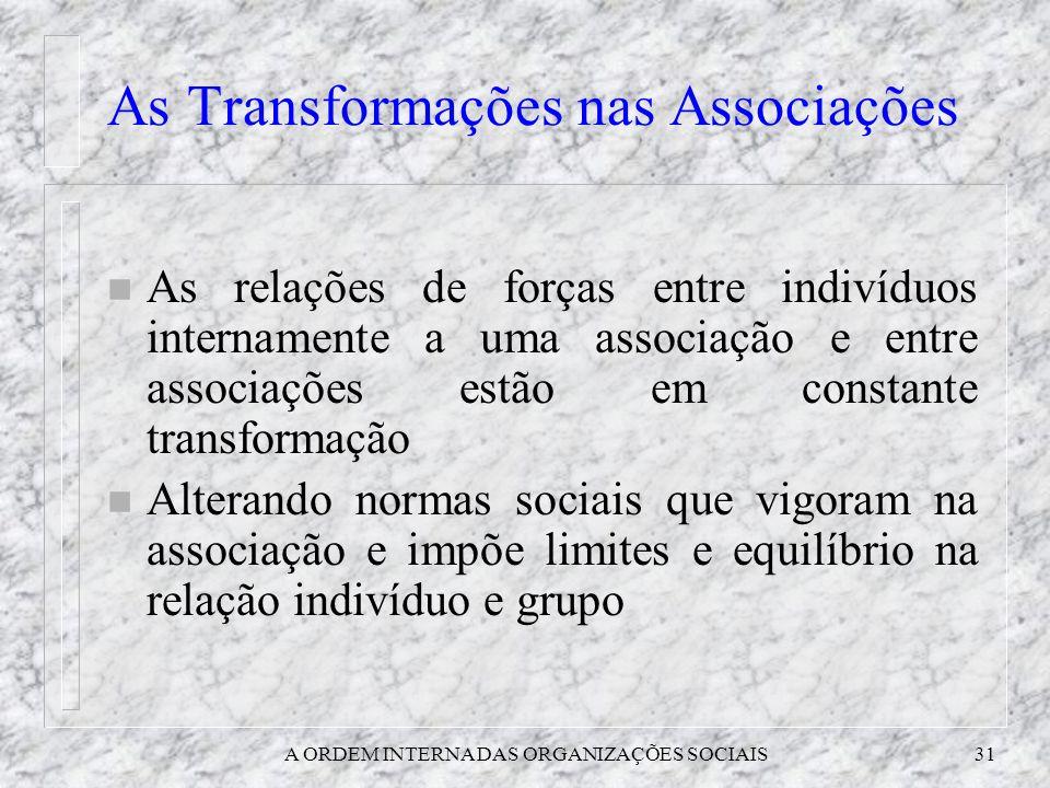 A ORDEM INTERNA DAS ORGANIZAÇÕES SOCIAIS31 As Transformações nas Associações n As relações de forças entre indivíduos internamente a uma associação e