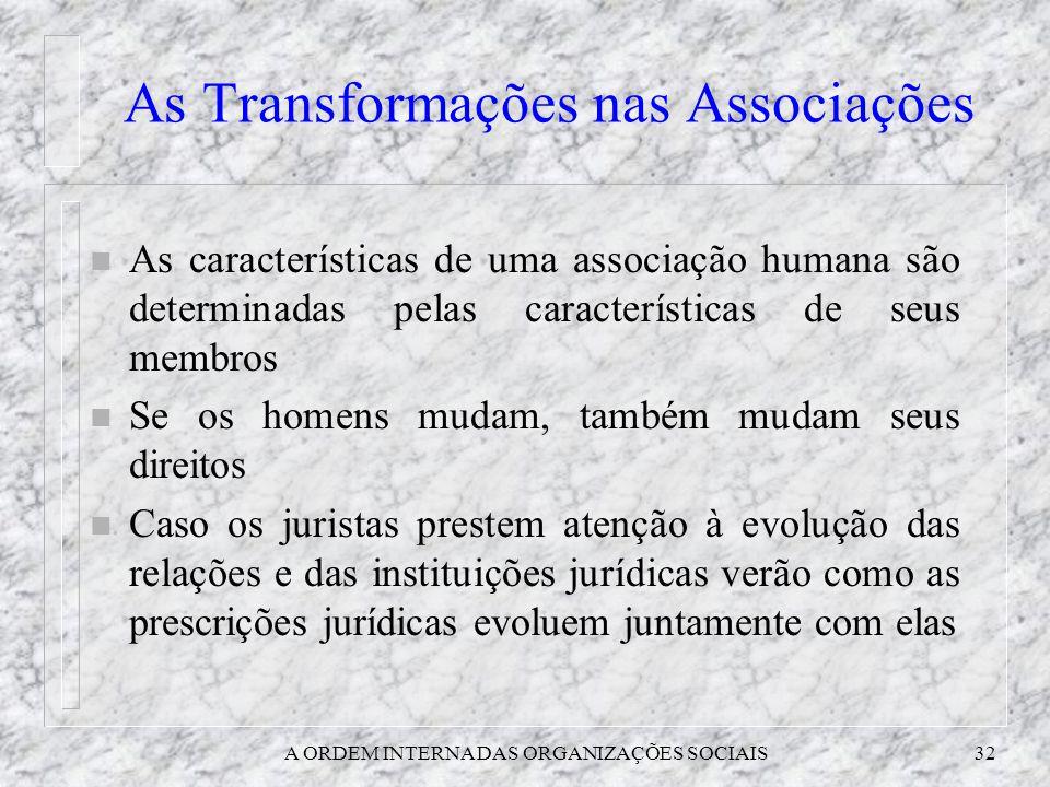 A ORDEM INTERNA DAS ORGANIZAÇÕES SOCIAIS32 As Transformações nas Associações n As características de uma associação humana são determinadas pelas cara