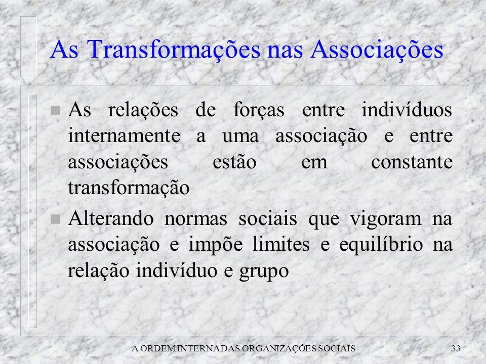 A ORDEM INTERNA DAS ORGANIZAÇÕES SOCIAIS33 As Transformações nas Associações n As relações de forças entre indivíduos internamente a uma associação e