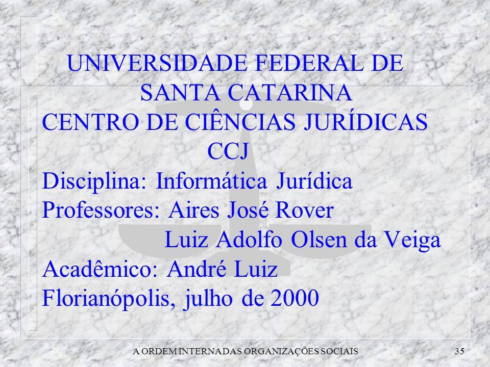A ORDEM INTERNA DAS ORGANIZAÇÕES SOCIAIS35 UNIVERSIDADE FEDERAL DE SANTA CATARINA CENTRO DE CIÊNCIAS JURÍDICAS CCJ Disciplina: Informática Jurídica Pr