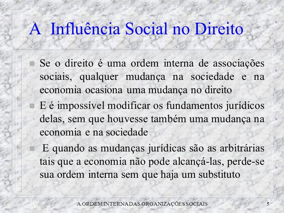 A ORDEM INTERNA DAS ORGANIZAÇÕES SOCIAIS5 A Influência Social no Direito n Se o direito é uma ordem interna de associações sociais, qualquer mudança n