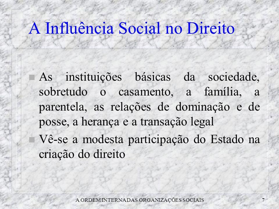 A ORDEM INTERNA DAS ORGANIZAÇÕES SOCIAIS7 A Influência Social no Direito n As instituições básicas da sociedade, sobretudo o casamento, a família, a p